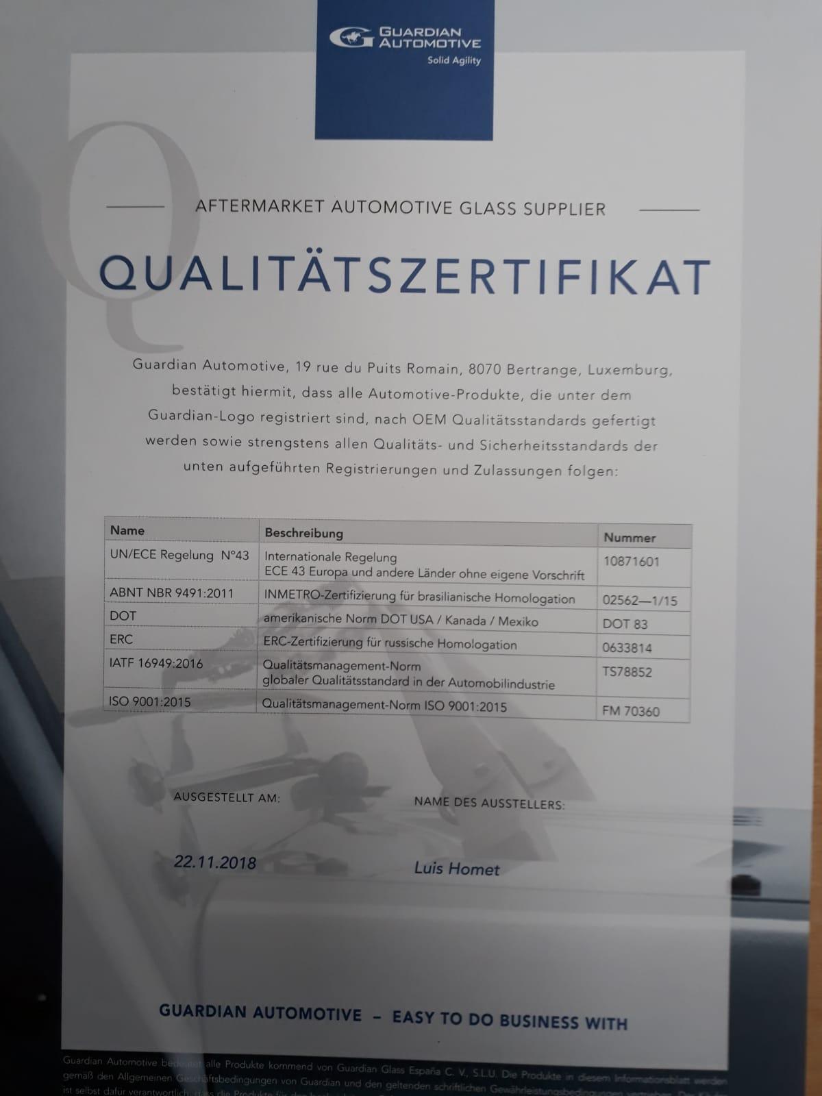 OEM Hersteller-Zertifikat Frontscheibe